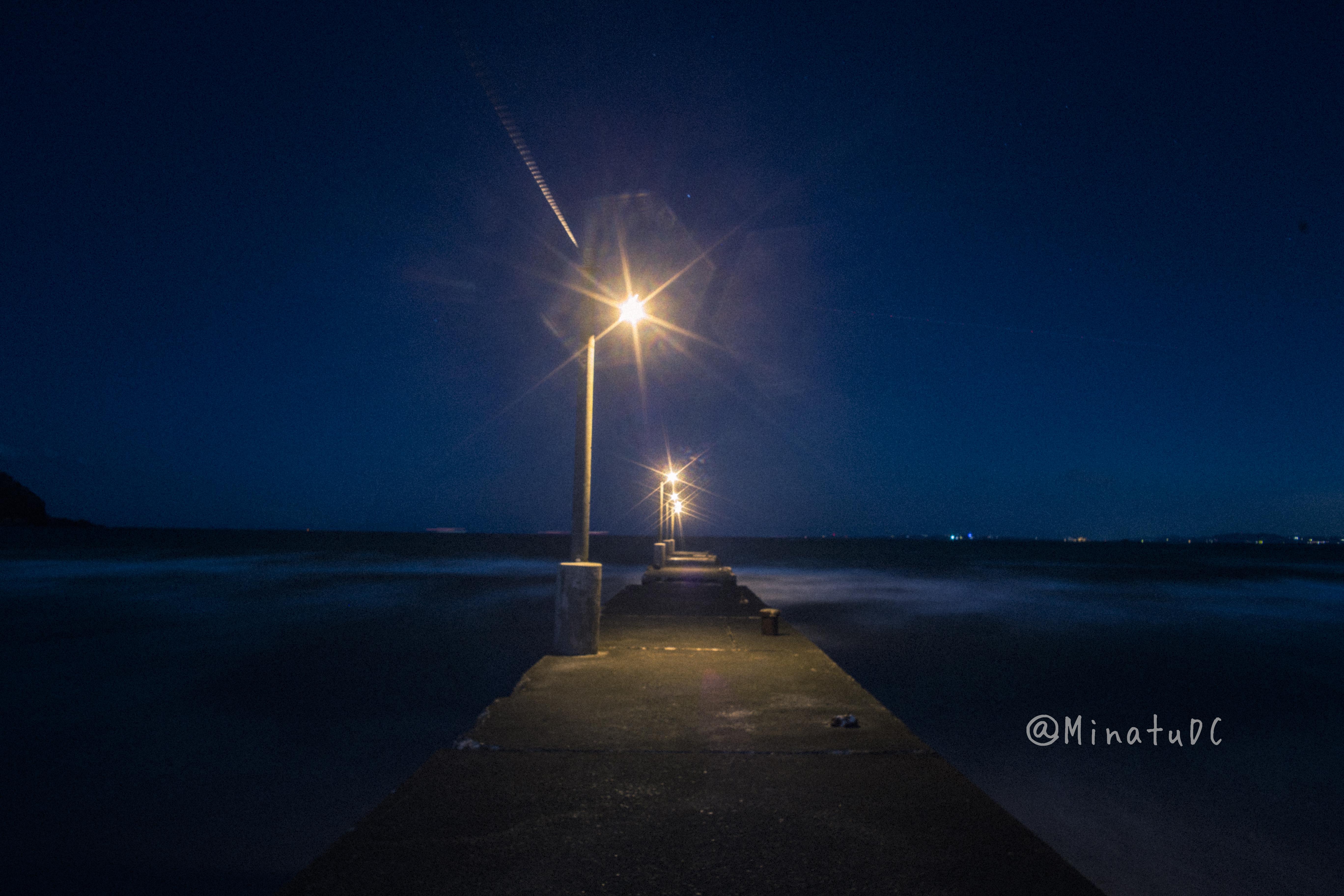 夜の原岡桟橋の写真